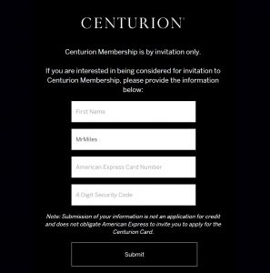 American express centurion invitation