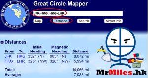 asia miles換機票 gcmap 距離計算