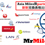 【Asia Miles新制】Partner Airlines standard chart 夥伴航空公司與國泰航班需要里數比較分析