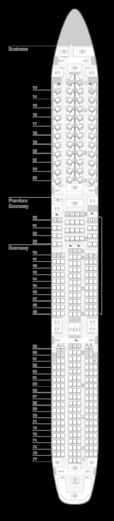 Seatmap A350 1000座位