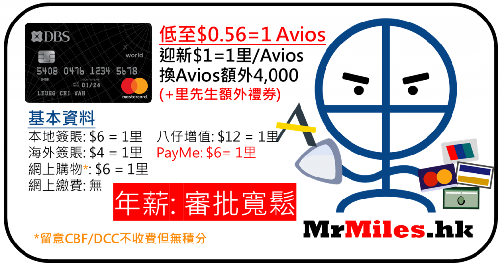 dbs black card 年薪 迎新 avios信用卡