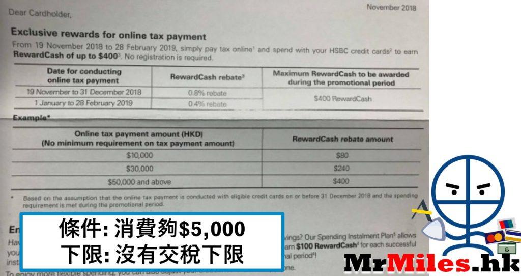 hsbc滙豐交稅 信用卡優惠