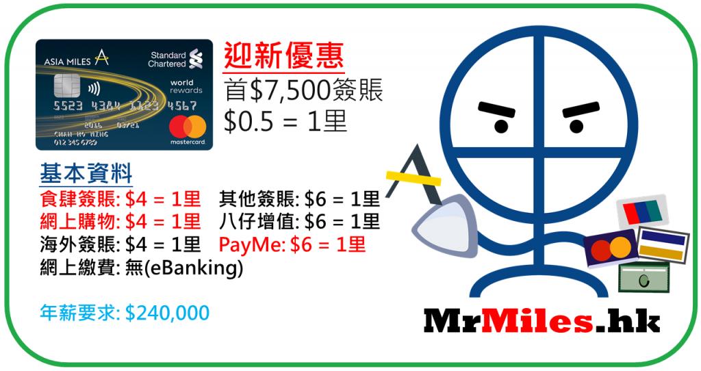渣打Asia Miles信用卡 迎新 年薪 年費