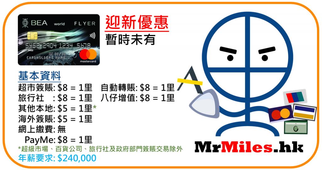 東亞flyer world 信用卡 迎新 年薪 年費