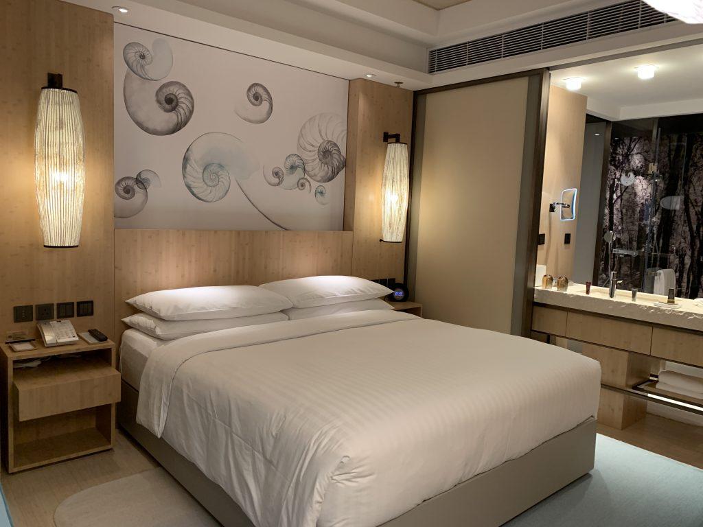 香港海洋公園萬豪酒店-張床隔籬係浴室
