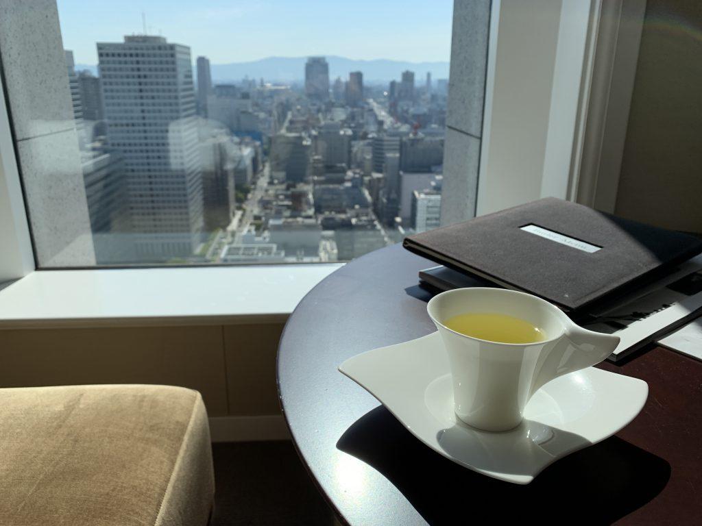 大阪瑞吉酒店-早上morning call 後可選擇飲熱桔茶