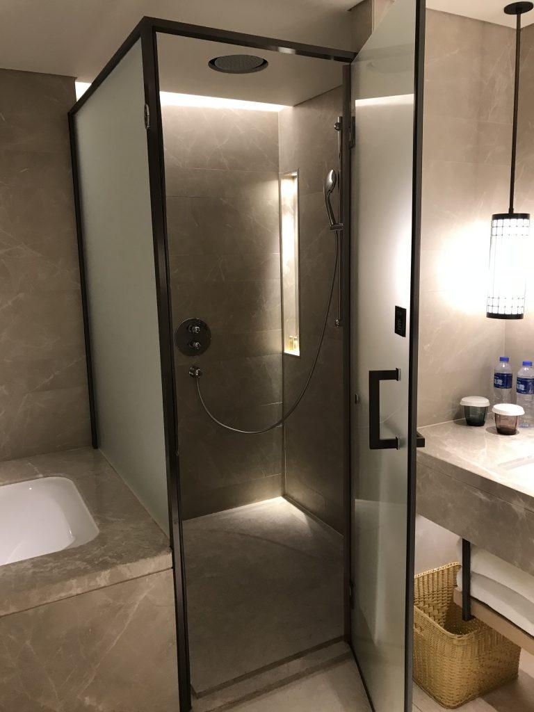 Hilton Shenzhen Shekou Nanhai-淋浴間在浴缸和洗手盆之間