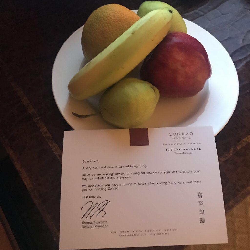 香港港麗酒店-迎賓水果及歡迎信條