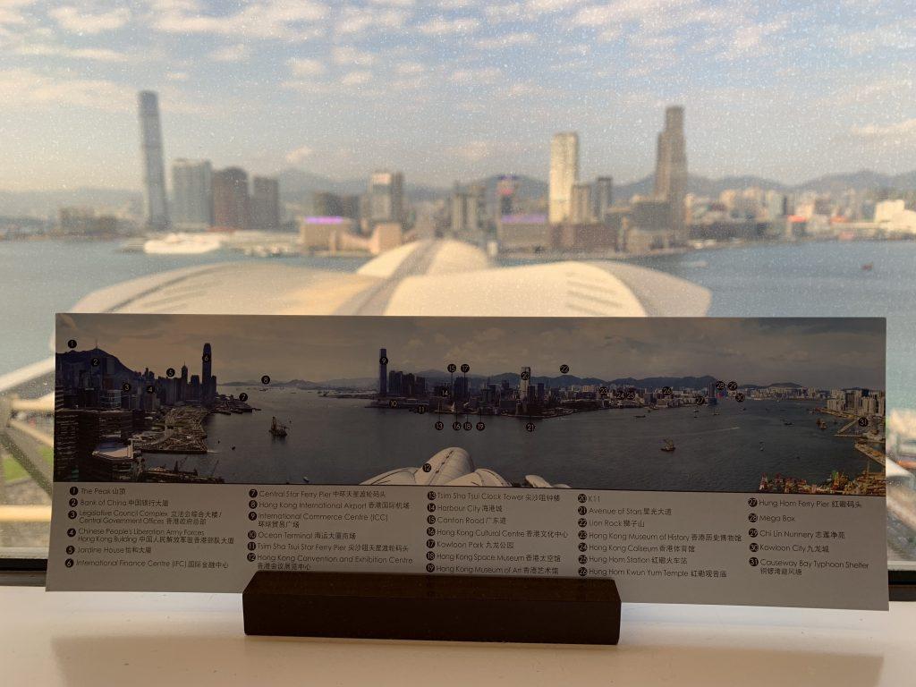 香港萬麗海景酒店-在房間窗邊有指示牌介紹維港風景