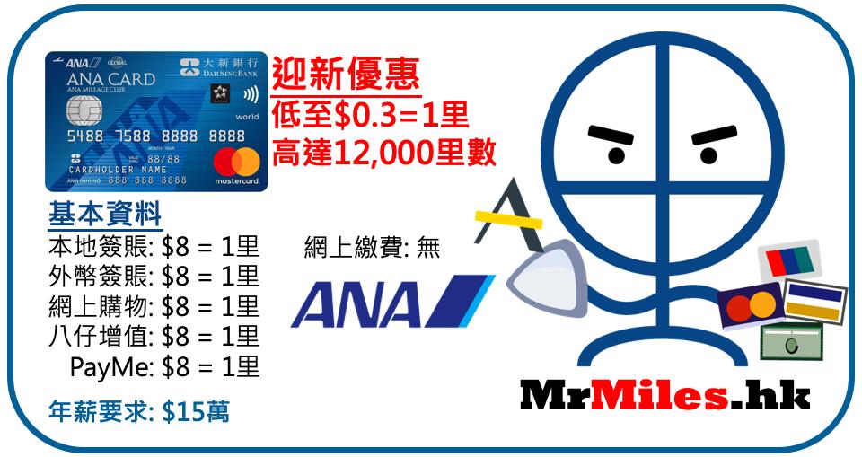 大新Ana-信用卡-迎新-年費-里數