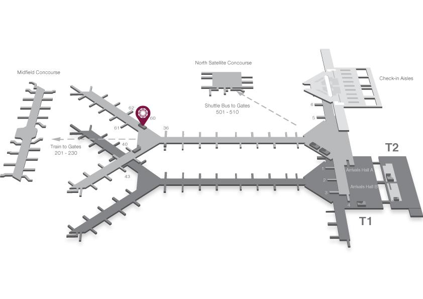 環亞機場貴賓室 Gate 60 位置地圖